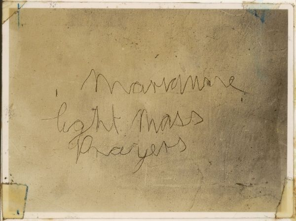 Graffiti from the walls of Borley Rectory : 'Marianne - light - mass - prayers&#39