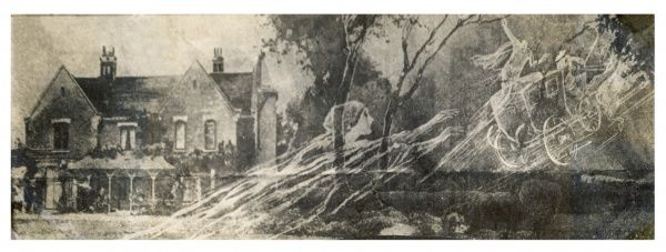Borley Rectory -- a rare pictorial representation of the Borley haunting showing Borley Rectory, the phantom nun and the ghostly coach and horses