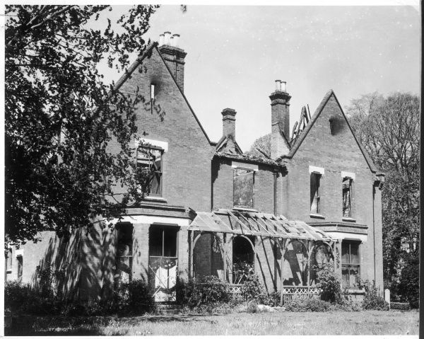 The garden front of Borley Rectory, shortly after the fire which destroyed much of the house