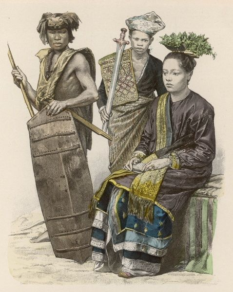Three natives of Borneo: two warriors (Dyaks) and a princess