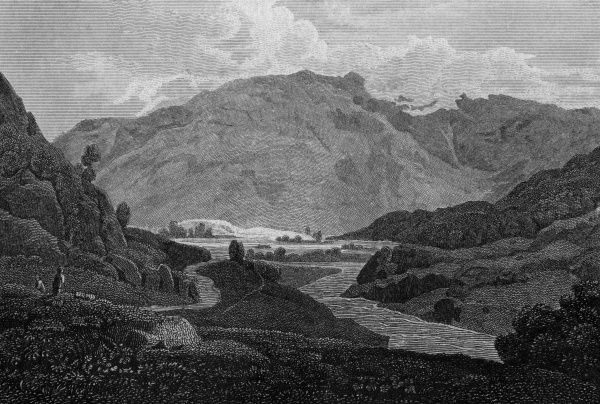 Borrowdale, viewed from the Bowder Stone, Cumbria Date: 1804