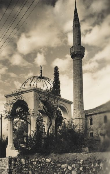Bosnia Herzegovina, Mostar - the tallest Minaret in Bosnia and part of the Koski Mehmed Pasa Mosque, built in 1617