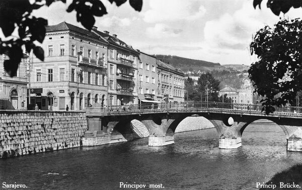 The Principal Bridge in Sarajevo over the River Miljacka, Bosnia and Herzegovina