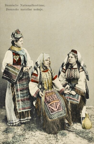 Three Bosnian women in traditional national costume