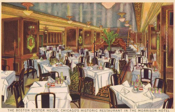 The Boston Oyster House room in the Morrison Hotel, Chicago Date: 1920s
