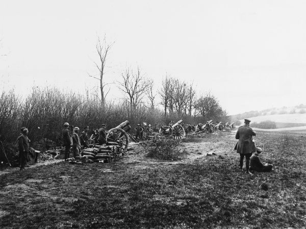 6 inch Howitzers in action in the open near Boues on the Western Front in France during World War I in April 1918