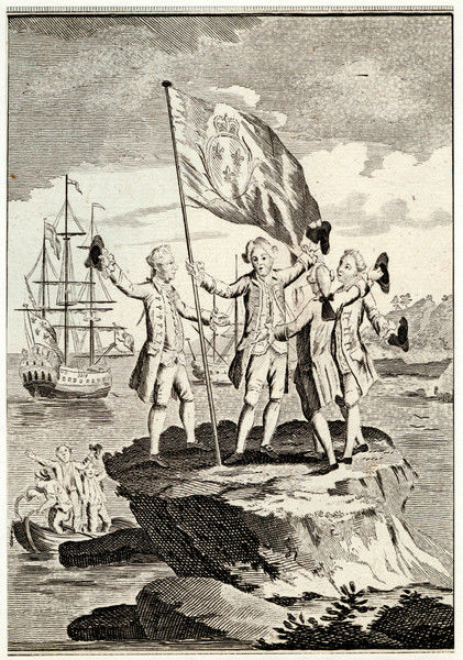 Bougainville and his men raise the French flag on a small rock on the Magellan Straits