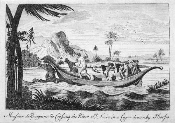 LOUIS-ANTOINE DE BOUGAINVILLE French naval, navigator, geographer, shown crossing the river of Santa Lucia in a canoe drawn by horses