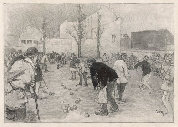 Two games of boules in animated progress on a piece of waste ground, France
