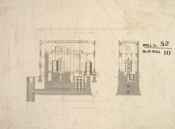 Elevation of the Boulton and Watt engine, erected at the East London Water Works, Old Ford Date: 1842