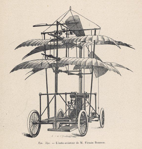 BOUSSON's PROJECT The 'auto-aviateur' of Firmin Bousson, designed to run on the ground, ascending into the air when required