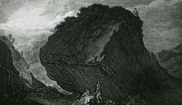 The Bowder Stone, a notable feature of the Gorge of Borrowdale, Cumbria Date: 1820