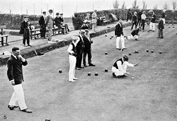Series of photographs showing a number of views of the Annual International Bowling Match between English and Scottish bowlers in London, held at the Bellingham Club, September 1916