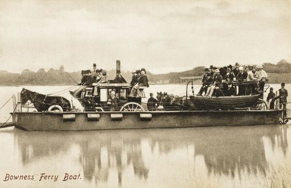 The departing Bowness Ferry boat on the way to Furness Abbey, transporting two horse-drawn carriages across Lake Windermere, Cumbria