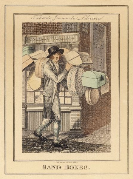'Band Boxes'. A box seller passes Benjamin Tabarts 'Juvenile Library' on Bond Street, London. Tabart was an early seller of fairy tales & nursery stories for children