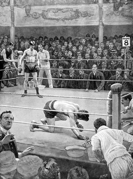 Illustration showing a boxing match at the Ring boxing saloon, London, c.1911. This building was previously known as the Surrey Chapel, which had been built by Rev. Rowland Hill (1744-1833)