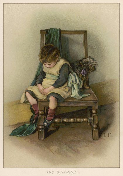 """The Quarrel"" - a little boy and his dog have fallen out"