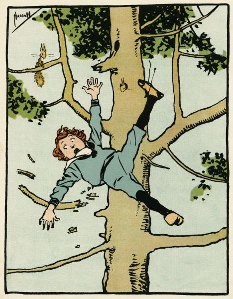 A boy tumbles from a tree Date: circa 1900