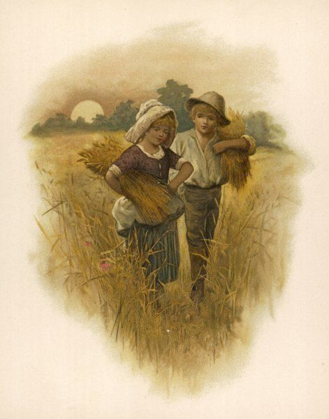 A little boy and girl carry sheaves of corn at harvest time as the sun sets behind them