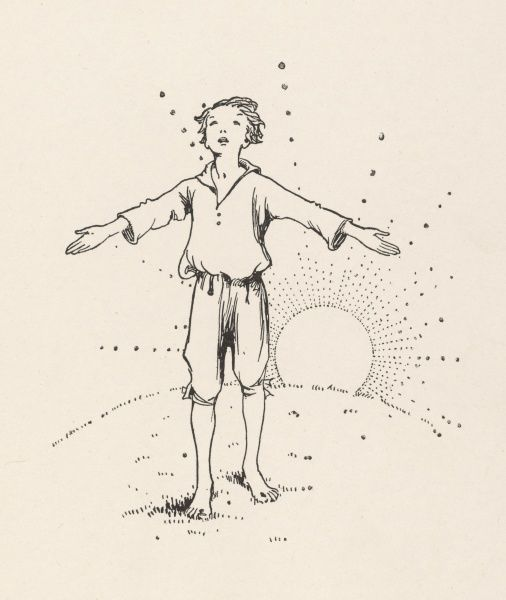 A young boy greets the morning sun with outstretched arms