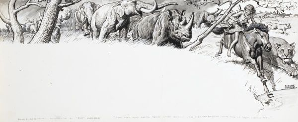 Illustration of a boy riding a horse, followed by various wild animals, including a lion, a rhinoceros and elephants