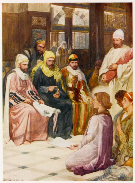 Taken to the Temple, the boy Jesus astonishes the priests by his knowledge of the scriptures