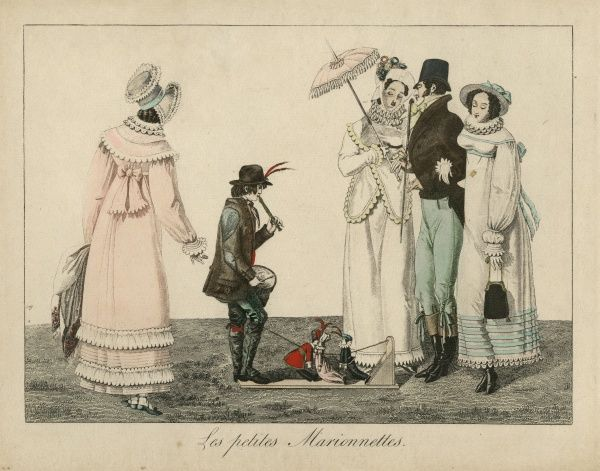 "Undated coloured illustration of a boy performing with small puppets watched by a gentleman with two ladies, entitled ""Les petites Marionettes"". HPG/8/2/1 (xxx)&quot"