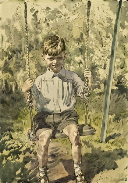 Boy playing on a swing. Watercolour painting by Raymond Sheppard