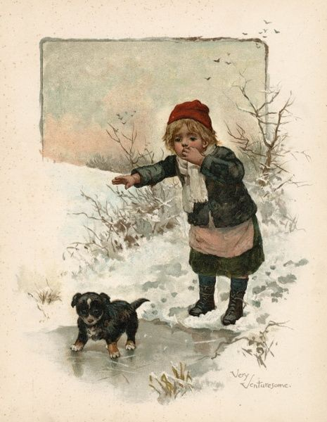 A small boy watches apprehensively as his puppy makes its first venture onto an ice-covered pond