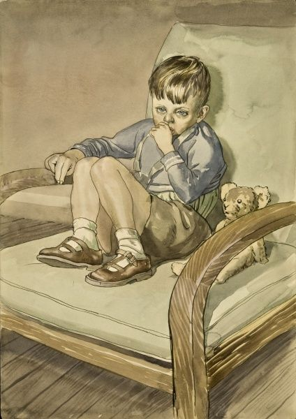 Boy sitting with his teddy bear on a comfy armchair. Watercolour painting by Raymond Sheppard