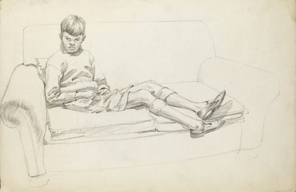 Boy sitting on a two-seat sofa with his legs slung across the cushions. Pastel sketch by Raymond Sheppard