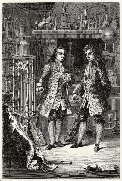 Sir Robert Boyle and his assistant, Denis Papin, at work in the laboratory