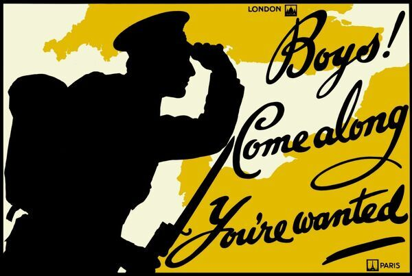 Boys! Come along. You're wanted. World War One recruitment poster of a soldier silhouetted against a map of the south of England and northern France - London to Paris - issued by the Parliamentary Recruiting Committee in London