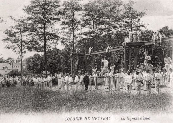 Gymnastic exercises being performed by inmates of the 'agricultural colony' for delinquent boys at Mettray, near Tours, France. In the 1840s, the colony pioneered the 'cottage homes' system where boys lived in small 'family' groups