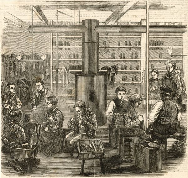 The shoemaking department inthe boy's refuge, Great Queen Street in Lincoln's-Inn Fields