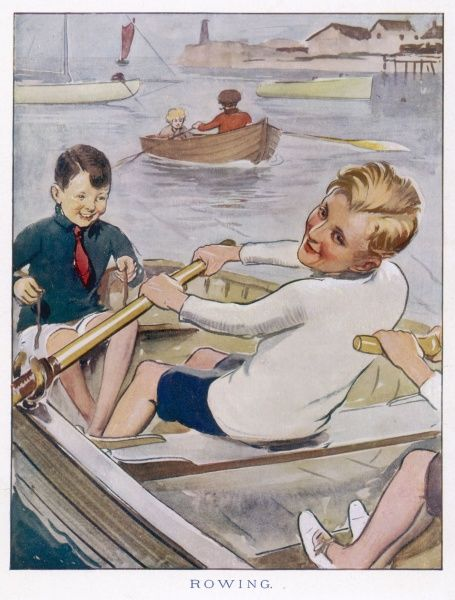 Two boys in a boat on the river. One rows, the other steers. Date: 1923