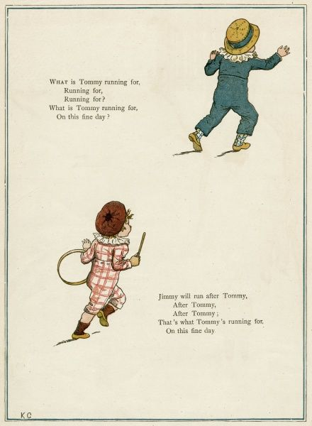 Two boys running, one of them with a hoop and stick.  first published 1879
