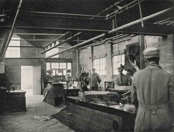 Boys in training in a carpenter's workshop at an unidentified Borstal institution