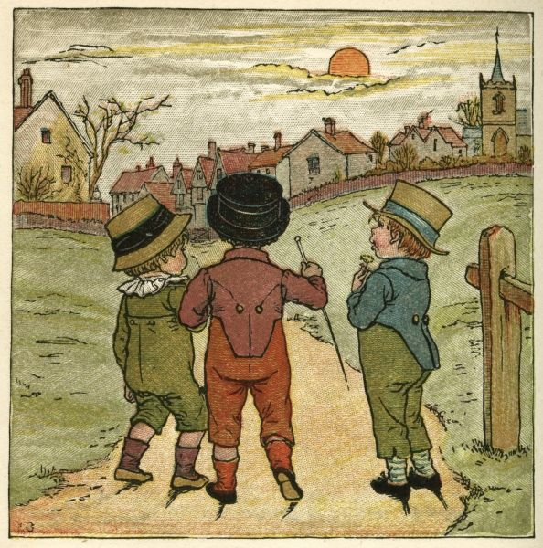 Three boys walking along a lane, probably on their way home for tea, as the sun will be setting soon
