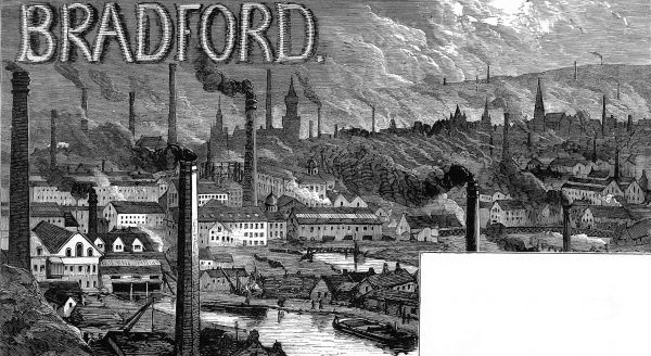 View of the industrial factories of Bradford in the week that the Prince and Princess of Wales (later Edward VII and Queen Alexandra) visited the town
