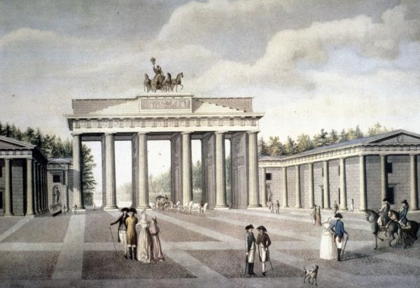 Brandenburger Tor, designed by Carl Gotthard Langhans, opened 1788 and crowned by Quadriga - group if sculptures by Johan Gottfried Schadows, Berlin, 1800. Date: c. 1800
