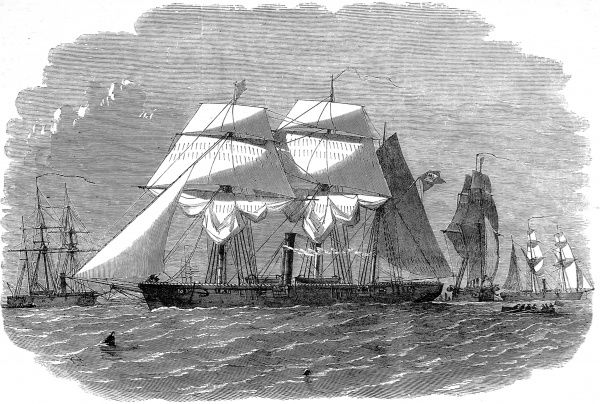 Engraving showing the Brazilian gun-boat squadron, with the 'Araguary' in the foreground, 1858