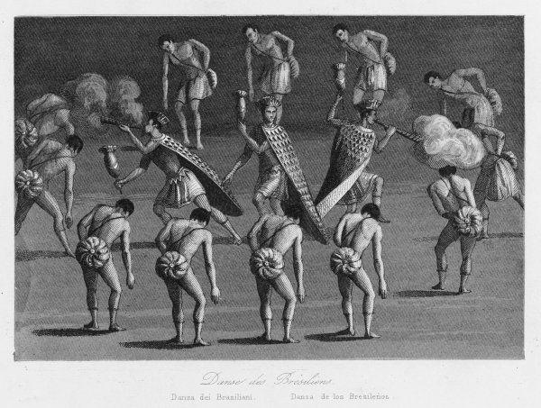 Brazilian natives performing a traditional dance, as reported by missionaries. It is possibly a form of Capoeira, a combination of martial arts, music and dance, still very popular today