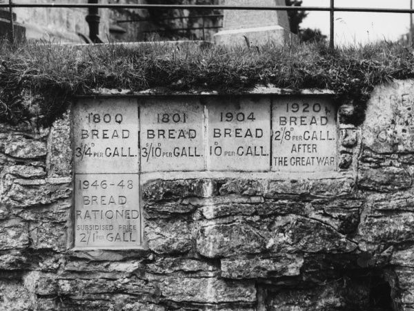 The price of bread from 1800 to 1948, recorded on a set of five stones in the churchyard wall at Great Wishford, Wiltshire, England