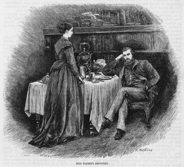 A young couple have a discussion over the breakfast table; the husband looks rather sullen