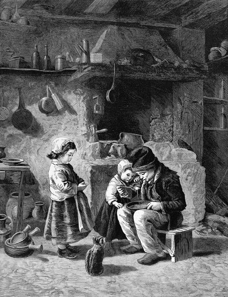 Three peasant children by a kitchen fireside. A boy is sat on a stool eating his breakfast, possibly porridge, from a bowl. Two little girls and a cat stand by and watch hungrily