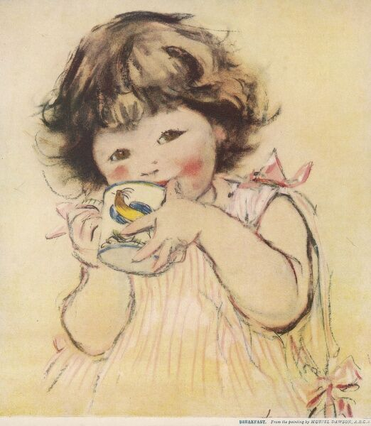 A jolly little girl with brown hair and eyes sips from a mug decorated with a painting of a cockerel