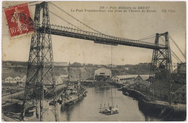The transporter bridge over the French naval harbour at Brest, photographed from the Chemin de Ronde