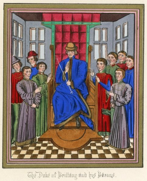 The barons of Bretagne meet to remonstrate with their duke, presumably at Rennes