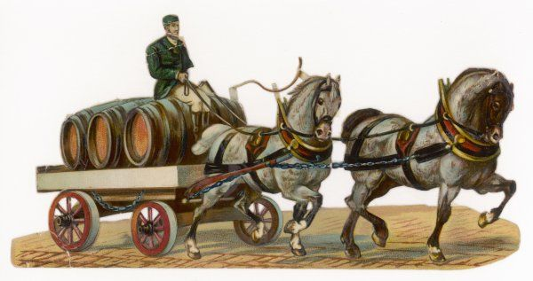 A brewer's dray drawn by two spirited horses